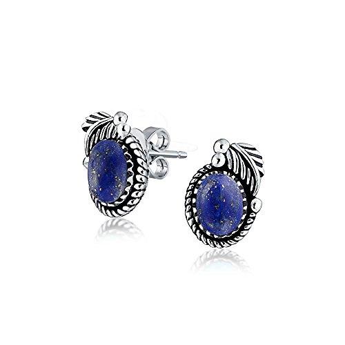 (Bali Style Blue Lapis Lazuli Gemstone Round Bezel Leaf Rope Edged Stud Earrings For Women Oxidized 925 Sterling Silver )
