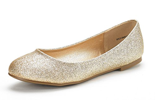 DREAM PAIRS Women's Sole Simple Gold Glitter Ballerina Walking Flats Shoes - 5 M US