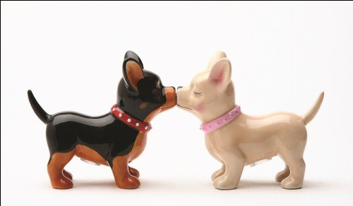 Pacific Trading Kissing Chihuahuas Pucker Up Pups, Salt and Pepper Shaker Set, Magnetic