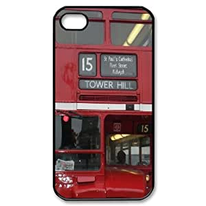 iPhone 4/4s Cases British Double Decker Bus Protective Cute For Girls, Case For Iphone 4s For Men Kweet, [Black]