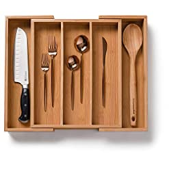 Kitchen Bellemain 100% Bamboo Expandable, Utensil – Cutlery and Utility Drawer Organizer (5 slot) silverware organizers