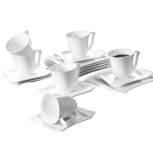Malacasa, Series Amparo, Ivory White Porcelain Afternoon Tea Set, 18-Piece Ceramic Coffee Serving Set of Cups, Saucers and Plates for 6