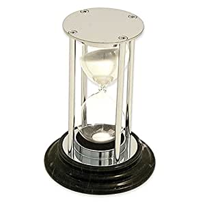Brass Fifteen Minute Sand Timer with Green or Black Marble Home Garden Living Gifts