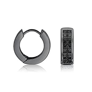 Bling Jewelry 925 Plata Negro Corte Invisible CZ Huggie Earrings Unisex