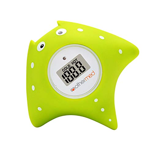 MotherMed Baby Bath Thermometer and Floating Bath Toy BathTub and Swimming Pool Thermometer Green Fish Only for Fahrenheit -