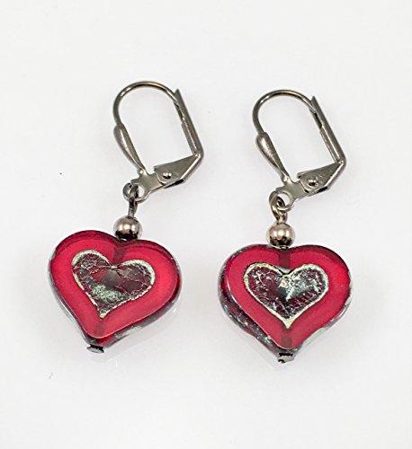 - Czech Glass Heart with Gun Metal Lever Back Earrings