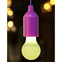 BRIGHT ZEAL Decorative Color Changing Pull Cord Led Light Bulb In Real Life Size (Purple, Batteries Included) - Outdoor String Lights - Hanging Lights LED Camping Lantern - Gift for Home Decor 1251CA