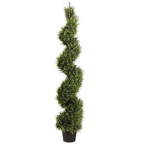 (SilksAreForever 5' Rosemary Spiral Artificial Topiary Tree w/Pot Indoor/Outdoor -Green)