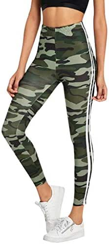 PAQOZ Women's Yoga Pants, Fashion Camouflage Tights Running Gym Leggings Power Stretch Pants