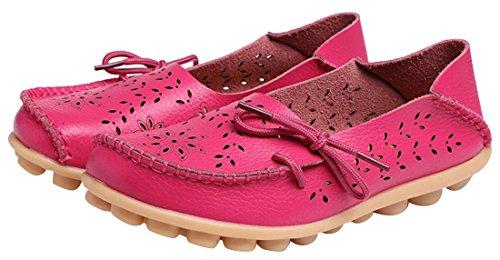 UJoowalk Frauen Leder Rindsleder aushöhlen Casual flache Fahr Schuhe Slipper Rose Rot