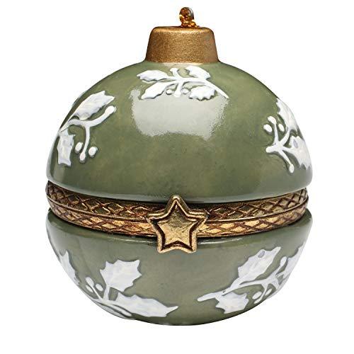 Bandwagon Christmas Decoration - Porcelain Surprise Ornaments Box - White Holly