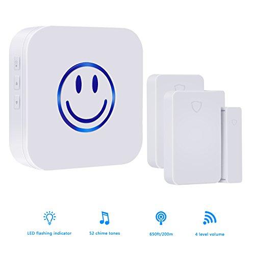Wireless Door Sensor,door sensor chime,Door Window Security Alarm-Operating,Range - 650FT / 52 Chime Tunes / LED Indicators ,2 Magnetic Door Chime Sensor(Battery included)& 1 Plugin Receiver