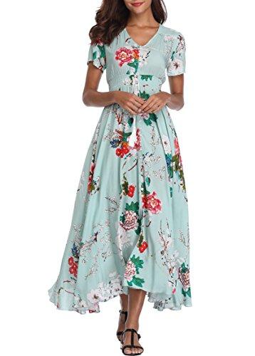 Floral Green Print (VintageClothing Women's Floral Print Maxi Dresses Boho Button up Split Beach Party Dress, Light Green, XL)