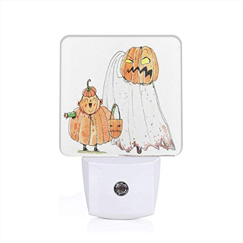 Cartoon Halloween Plug-in Night Light Warm White LED Nightlight with Auto Dusk to Dawn Sensor, Perfect for Kids Room, Hallway, Bedroom, Kitchen, Bathroom -