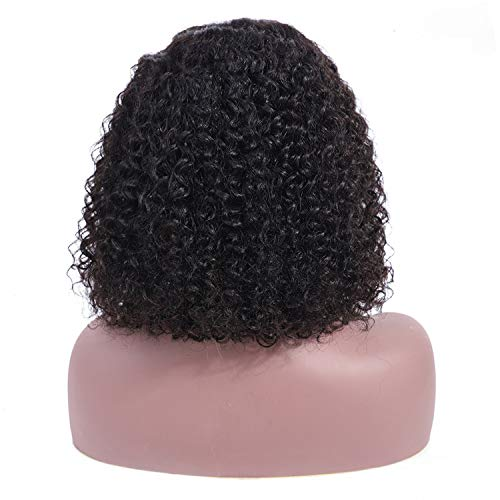 (Hair Bob Wigs Brazilian Lace Front Human Hair Wigs For Black Women Natural Color Kinky Curly Short Lace Front Wigs,Natural Color,10inches,13X4Lace Front)