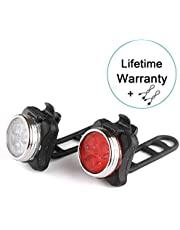 Witmoving WM007X Head Lamp 650mAh USB Rechargeable Front and Rear Bike Light Set (Red)Back Lights, (White)