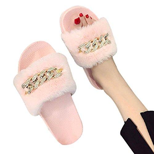 Le Donne Delle Donne Di Sunfei Scivolano Sui Cursori Fluffy Pantofole Piatte In Eco-pelliccia Infradito Sandalo Rosa