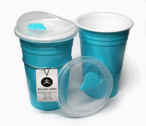 Rolling Sands Reusable BPA-Free 16 Ounce Turquoise Party Cups with Lids - 2 Pack, Made in USA