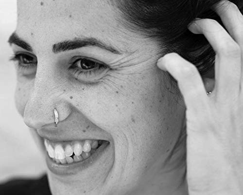 Silver Nose Ring Fits Also Septum 21 Gauge Indian Sterling Silver Boho Cartilage Earrings or Nose Hoop for Men and Women Daith Tribal Ethnic Handmade Unique Piercing Jewelry Helix Rook