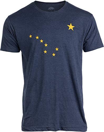 Alaskan Flag   Alaska Pride Northern Lights Big Dipper Polaris Men Women T-Shirt-(Adult,L) Heather Navy