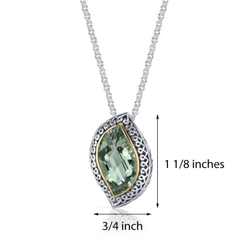 Revoni Alliance feuilles taillé 8 carats-Améthyste verte-Argent 925/1000 pendentif Motif ruban
