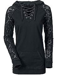 Imixcity Women Stylish Long Sleeve Lace Joint Pullover Hoodie Sweatshirt
