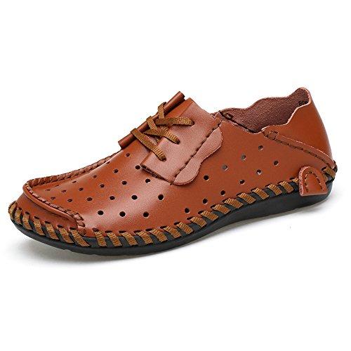 Meiping Fashion Slip Leder Schuhe Fahren Männer Casual Braun01 Schuhe auf Loafers 7w7qRHg
