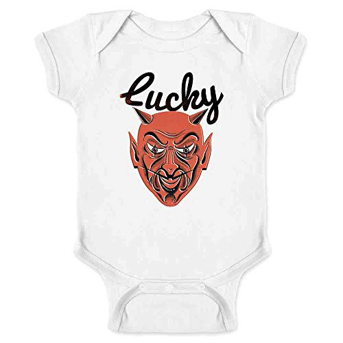 Lucky Devil Retro Halloween Horror Mask Retro White 12M Infant Bodysuit ()