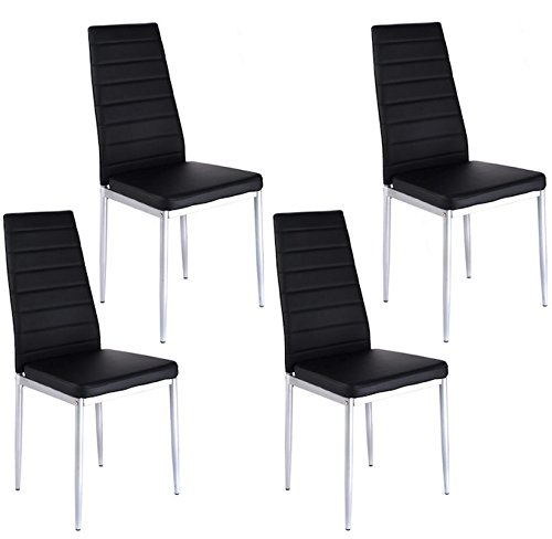 4 PCS Black PU Leather Cushioned Seat Set Of 4 Dinning Chairs Modern Elegant Design Kitchen Table Side Home Furniture Restaurant And Company Use Stainless Steel Legs 1 Order 4 Dining Chair (Scroll International Modern Silver)