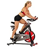 Sunny Health & Fitness Exercise Stationary Bike with 49 LB Chrome Flywheel, Leather Resistance Pad, Smooth Chain Drive, 275 LB Max Weight - SF-B1002C