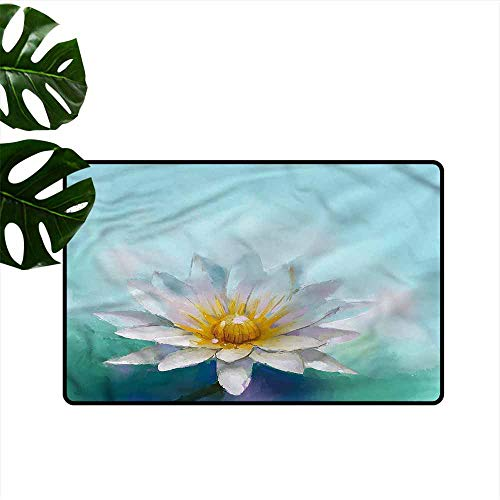 (DUCKIL Interior Door mat Flower Impressionist Daisy Drawing Quick and Easy to Clean W35 xL47 )