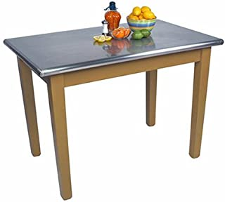 "product image for John Boos Cucina Americana Moderno Prep Table with Stainless Steel Top Base Finish: Natural Mable, Size: 48"" W x 24"" D"
