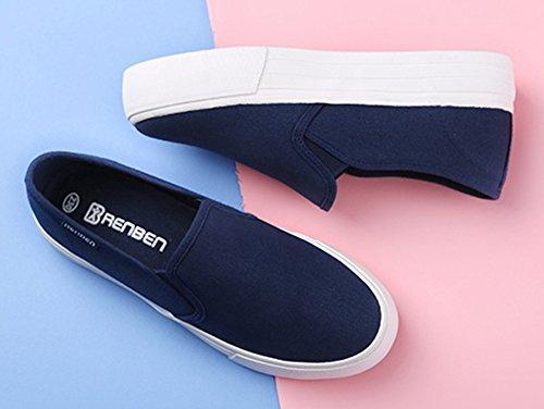 Sfnld Kvinna Avslappnad Slip På Låg Snitt Plattform Sneakers Tygskor Blå