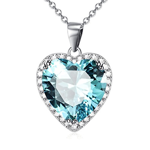 Aquamarine Cubic Zirconia Heart (Cuoka Silver Necklace Light Blue November Birthstone Love Heart Pendant Necklace Sterling Silver Solitaire Cubic Zircon Women Jewelry Set (November-Topaz))