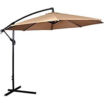 New Tan Patio Umbrella Offset 10u0027 Hanging Umbrella Outdoor Market Umbrella  D10