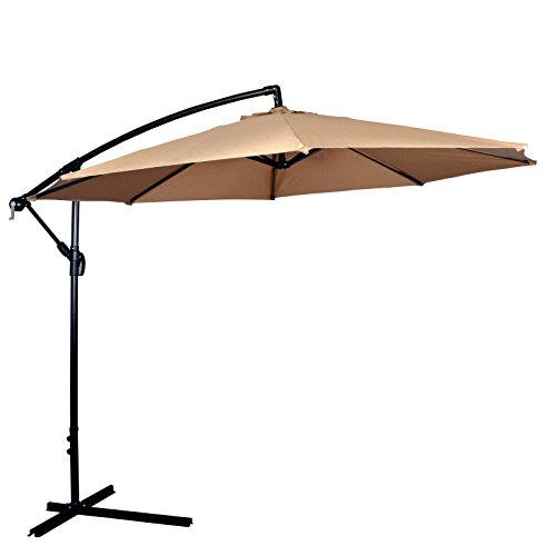 New Tan Patio Umbrella Offset 10' Hanging Umbrella Outdoor Market Umbrella D10