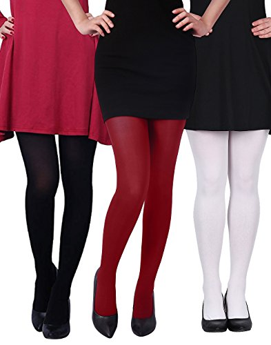 d2e79af3b HDE 3 -Pk Womens Tights Microfiber Solid Color Opaque Footed Pantyhose  Stockings - Buy Online in UAE.