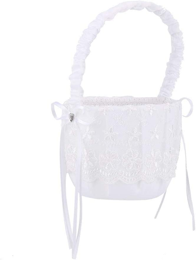 AUNMAS Wedding Flower Basket with Lace Ribbon Bow White Lace-wrapped Flower Girl Basket Photo Props Party Supplies