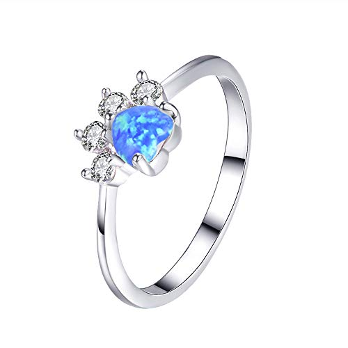 (sedmart Paw Ring Imitated Opal Cat Paw Ring Silver Plated Copper Ring for Women Girls Animal Lovers (Size 7) )
