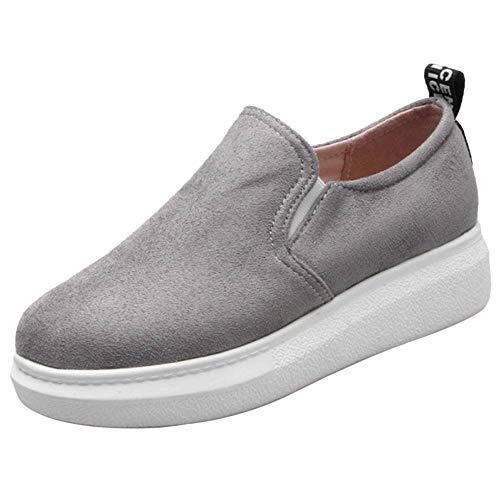 Comodo Grigio Shoes Basso Mocassini Tacco RAZAMAZA Donne 5Ywq7qH