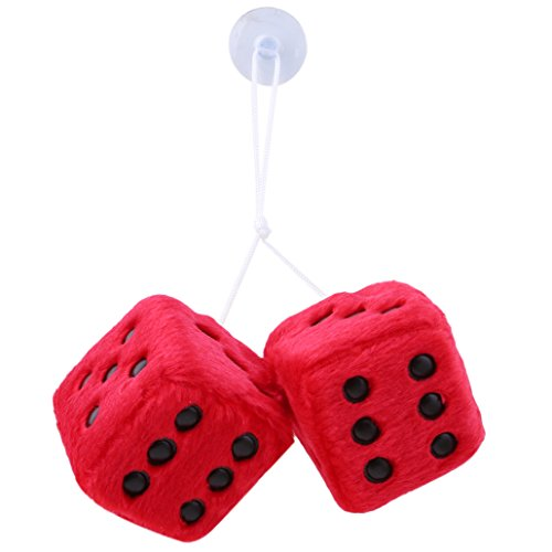 Dolland 2PCS Square Hanging Dice Plush Decorative Ornament With Dots Retro Car Pendant Charms Home Decoration,Red Black Spot (Inlaid Dice)