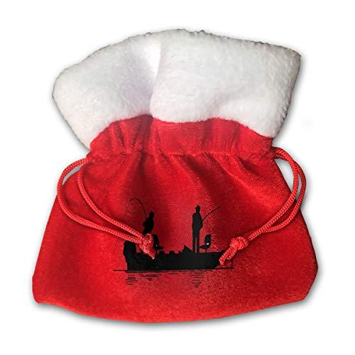NRIEG Two People Fishing Christmas Candy Bags Santa Claus Gift Treat Sacks with Drawstring Xmas Stocking Ornaments Decor Handbag