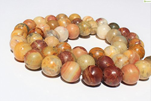 - Crazy Agate 10mm, Natural, Energy Gemstone | Healing Power for Jewelry Making | Loose Beads | 1strand 15.5 inch (36-40 Beads) | Well Polished Round | Oxxysaon