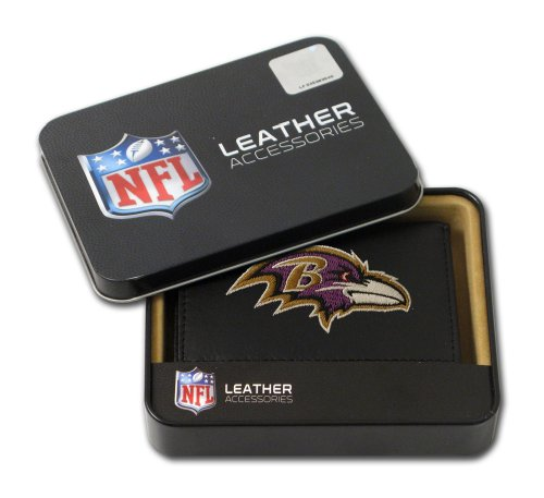 Baltimore Ravens Black Leather - Rico Industries NFL Baltimore Ravens Embroidered Genuine Leather Trifold Wallet