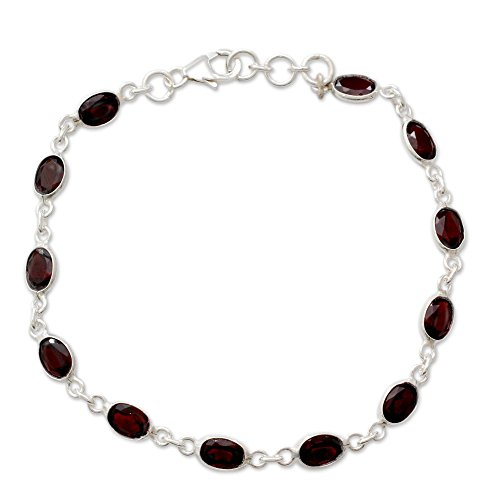 (NOVICA Garnet Tennis Bracelet .925 Sterling Silver Handmade in India, Romantic Red')