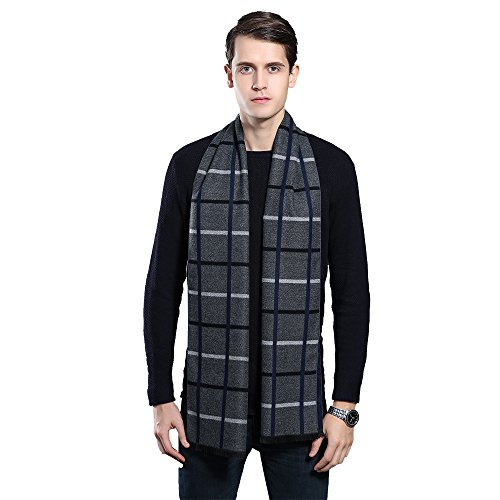 (Mens Winter Cashmere Scarf - Ohayomi Fashion Formal Soft Scarves for Men(Grey/White Plaid))