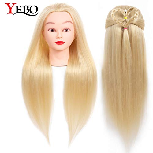 Yebo Mannequin Head 24 Inch,Training Practice Head Yaki Cosmetology Styling Doll Heads Practice for Kanekalon Hair Training ()