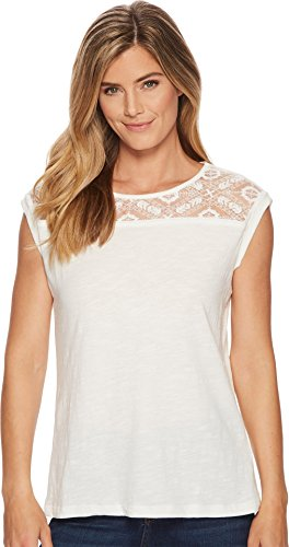 Tribal Women's Cap Sleeve Top With Lace Neck Detail Eggshell (Cotton Cap Sleeve Shell)