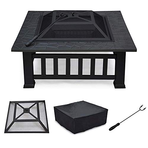 Yaheetech 32'' Outdoor Metal Firepit Square Table Backyard Patio Garden Stove Wood Burning Fire Pit with Spark Screen, Log Poker and Cover by Yaheetech