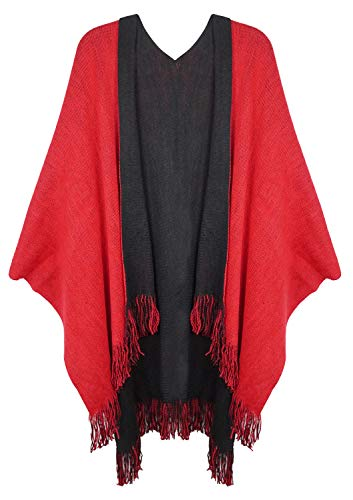 Lovful Women Winter Warm Faux Cashmere Poncho Capes Scarf Shawl Cardigans Sweater Coat,BlackRed